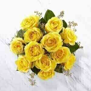 12 Yellow Roses Bunch..