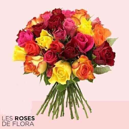 Brassée de 30 roses multi..