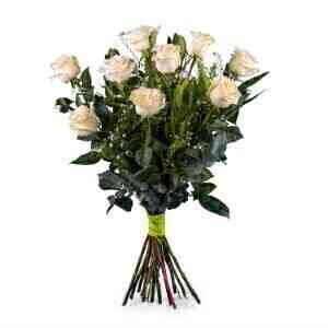 9 Long-stemmed White Rose..
