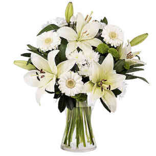 Familial Love White Lilies and Gerberas