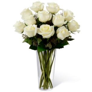Rosas Brancas 12 em Vaso..